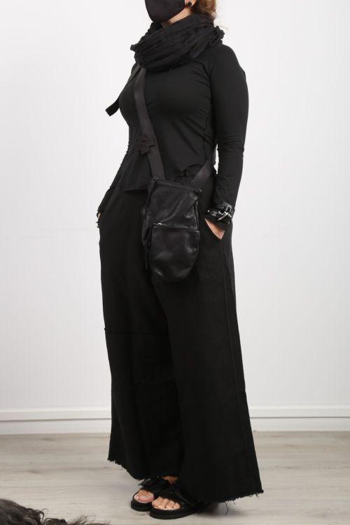 serien umerica - Ledertasche Doppeltasche black