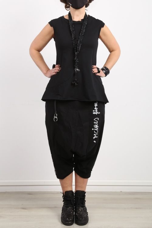 rundholz black label - Top in flared shape with piping in rib black - Summer 2021