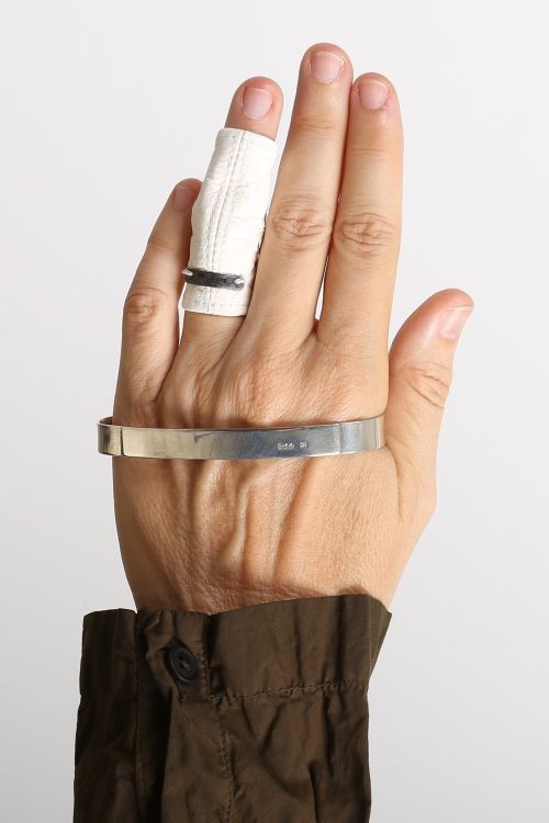 rundholz - Leather ring with silver white