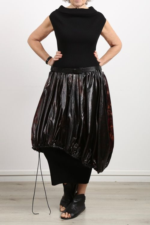 rundholz - Balloon skirt techno fabric with leather strap sapphire