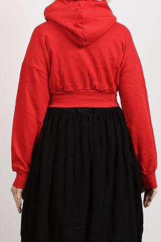 Sweater with hood and a big bow cotton red - Winter 2021