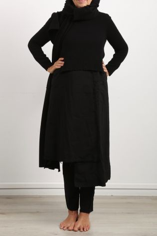 serien umerica - Kleid mit Pullover langarm und ärmellos Stoff Mix Wolle black - Winter 2021