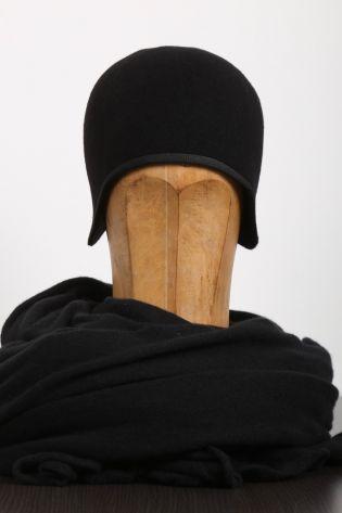 scha - Felt hat Dakar with ribbon wool black