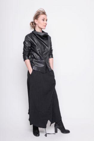 black by k&m - Leatherjacket EMMA Biker Style with waterfall collar black - Winter 2021