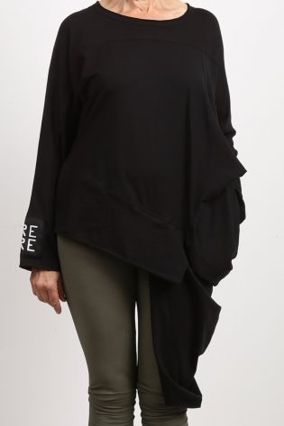 creare - Sweater Bluse CRAX Asymmetrie Jersey Stretch black - Winter 2021