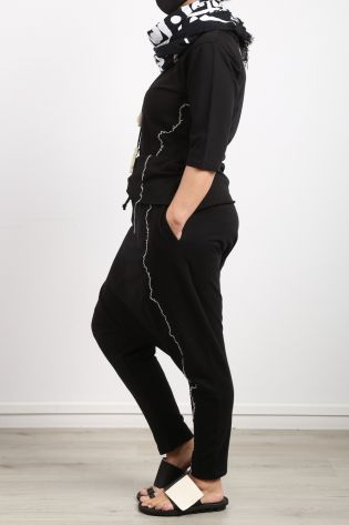 black by k&m - Pants Moon Rising with lower crotch and bright decorative seams black - Summer 2021