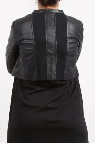 black by k&m - Leather jacket Amusing with stretch inserts black - Summer 2021