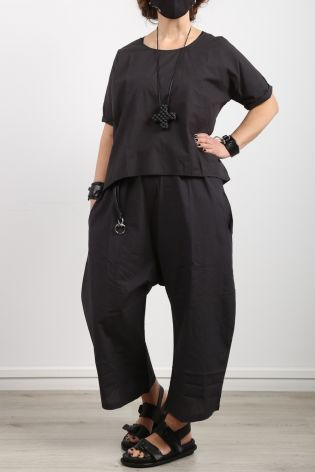 black by k&m - Bluse Thanks For The Love Cotton Oversize black - Sommer 2021