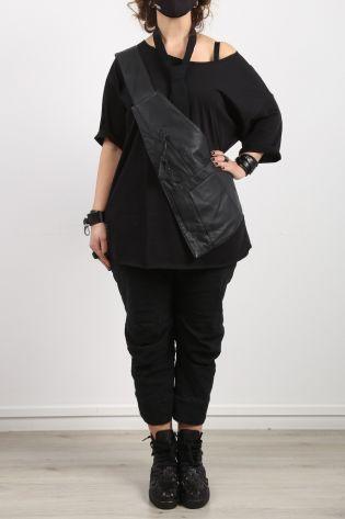 black by k&m - Schultertasche Crossover Ledertasche black