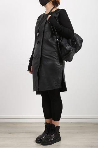 black by k&m - Lederkleid WHY mit Reißverschluss und Stretcheinsätzen black