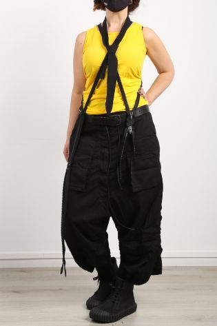 rundholz dip - Wide leg pants with lower crotch and pockets black - Summer 2021