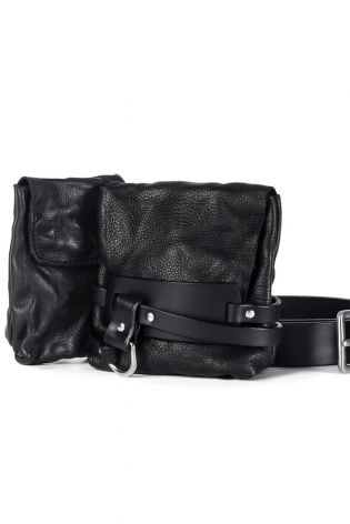 teo + ng - Fanny bag SAKUO with 2 pockets and wide leather belt black - Winter 2022