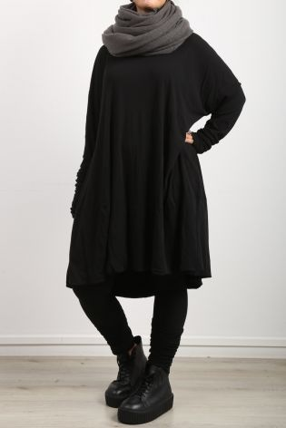 rundholz dip - Shirt dress with print and arm cuffs oversize black - Winter 2022