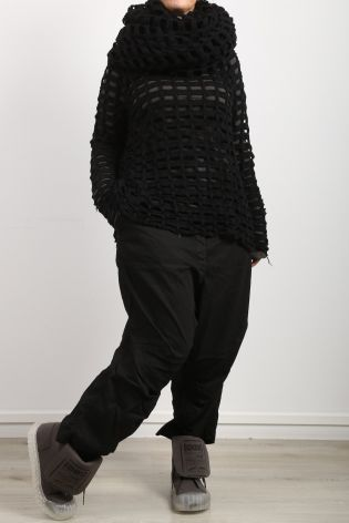 rundholz dip - Big scarf with holes wool with cashmere black grid2 - Winter 2022