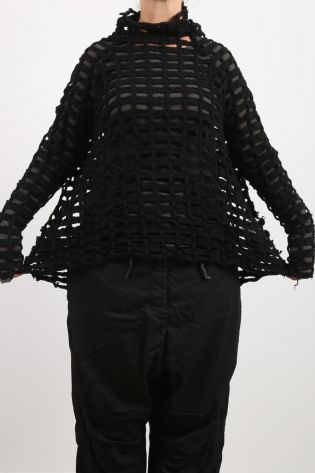 rundholz dip - Sweater with holes wool with cashmere oversize black - Winter 2022