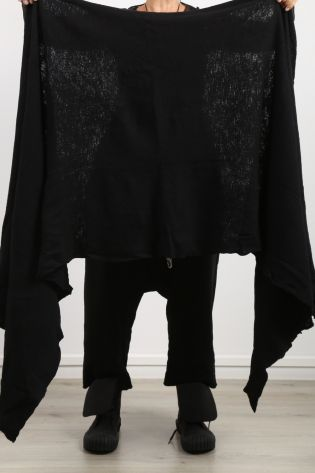 rundholz dip - Big scarf stole cape boiled wool black - Winter 2022