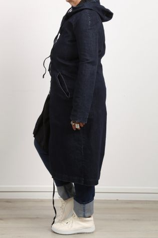 serien umerica - Denim coat parka asymmetry with hood jeans blue