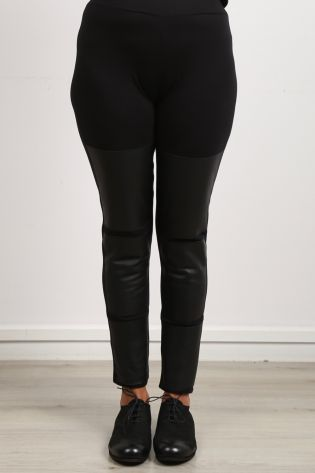 black by k&m - Hose Celeste mit Ledereinsätzen Cotton Stretch black