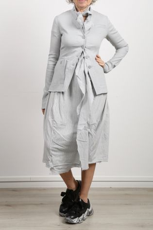 pal offner - Jacket with different pockets Linen Cotton Stretch smoke